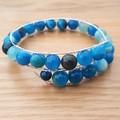 Blue agate beaded cuff bracelet, blue stripe agate bead memory wire bangle
