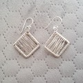 Rhombus dangle 925 sterling silver hook earrings