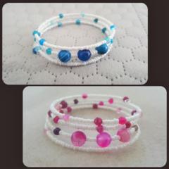 Boho rose or blue agate and white seed bead memory cuff bracelet