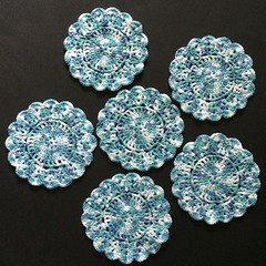 Six Hand Crocheted Coasters in 'Marine Mix' Cotton
