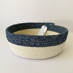 Large Rope Basket with Navy Blue Fabric Top Band