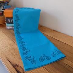 """Block printed 100% Cotton Tea towel   """"Keep on Pedalling""""!   Aqua"""