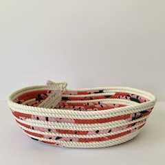 Small Oblong Rope Basket with Strawberry Print Fabric