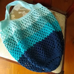 Crochet Mesh Market Bag - Bluey