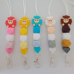 Sheep with hearts silicone bead lanyards / ID holders / badge holders