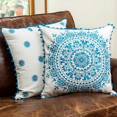 "Decorative Embroidered Cushion Covers 18""x18"" 100% Cotton, Set of 2 by Colourful"