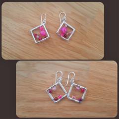 Rose agate rhombus dangle 925 sterling silver hook earrings