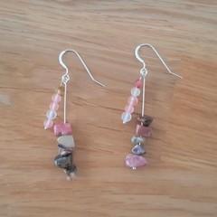 Pink rhodonite and tigers eye dangle 925 sterling silver hook earrings