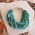 Green Multi Strand Seed Bead Bracelet