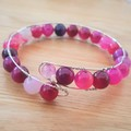 Rose agate beaded cuff bracelet, pink agate bead memory wire bangle