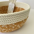 Round Small Rope Basket with Mustard Floral Fabric