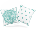 """Decorative Embroidered Cushion Covers 18""""x18"""" 100% Cotton, Set of 2 by Colourful"""