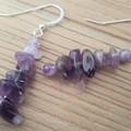 Lavender Amethyst dangle 925 sterling silver hook earrings
