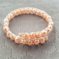 Champagne rice pearl beaded cuff bracelet, Freshwater pearl memory wire bangle