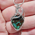 Boulder opal pendant, unisex Sterling silver wire wrapped