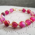 Rose agate wire wrapped bracelet, pink agate beaded gold plated wire bracelet