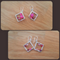 Rose agate rhombus dangle 925 sterling silver hook earrings