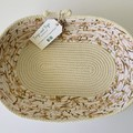 Oblong Basket with Fabric Wrapped Rope