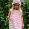 Crochet Celia Dress in coral size 0-6m 6-12m 12-18m 1-2y or 2-3y Baby Girl