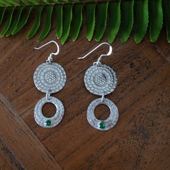 Recycled Silver & Emerald Green CZ Double Drop Earrings