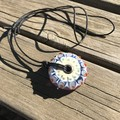 Handmade Glass Bead Large Big Hole Disc Pendant