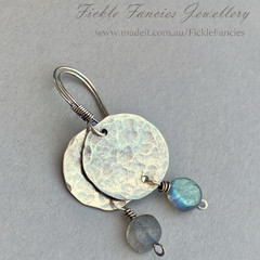 Luna Drops - Silver and Labradorite Earrings
