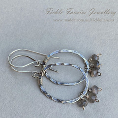 Hammered Silver Hoop Earrings with Labradorite