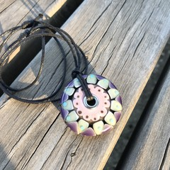 Handmade Glass Bead Large Big Hole Disc Pendant