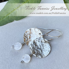 Luna Drops - Silver and Rainbow Moonstone Earrings