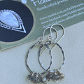 Hammered Silver Hoop Earrings with Labradorite