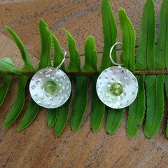 Recycled Silver and Peridot  Earrings