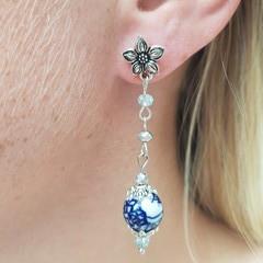 Blue and white porcelain bead earrings