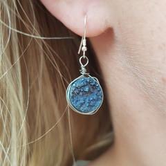 Blue Druzy Crystal earrings