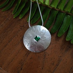Recycled Silver 'Celtic style' textured Pendant with Swarovski Green CZ