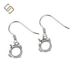 Earrings with 7mm Round Basket Setting in Sterling Silver