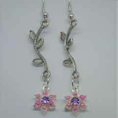 Dangly Pink and Purple Bling Earrings