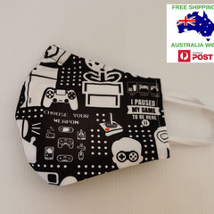 SALE! Small for child/small female adult 'gamer' pattern. Triple cotton facemask