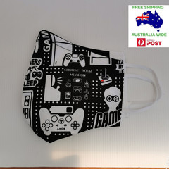Extra large for adult male/female.Gamer pattern facemask.