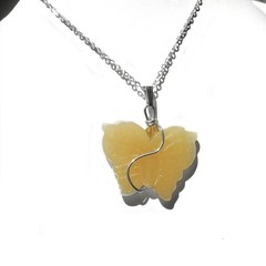 Large yellow butterfly pendant, Sterling silver wire wrapped pendant, gemstone