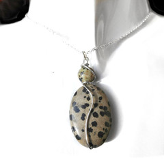 Dalmation Jasper pendant, Sterling wire wrapped Sterling silver pendant