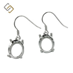 Earrings with 9x11mm Oval Basket Setting in Sterling Silver