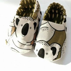 Baby Soft Sole Shoes in Koala Bear Print