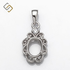Swirls Pendant,  Oval Prong Mounting & Bail in Sterling Silver for 5 x 7mm stone