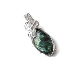 Seraphinite gemstone pendant, Sterling silver wire wrapped