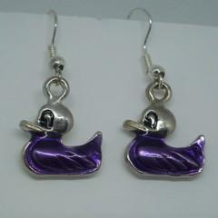 Purple Duck Earrings
