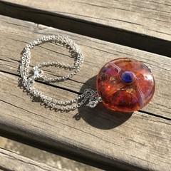 Handmade Glass Lampwork UFO Lentil Coin Glass Pendant