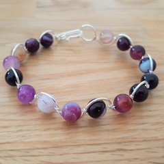 Purple agate wire wrapped bracelet, beaded silver plated wire bracelet