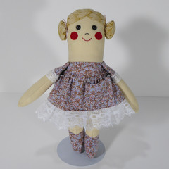 Mellie Cloth Doll - Mini Heirloom Style Fabric Doll in Lavender Floral Print