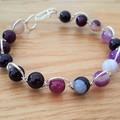 Purple agate wire wrapped bracelet, beaded silver plated wire bracelet