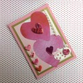 Two Hearts 'Be Mine' on Pink Glossy Valentine Card